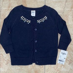 NWT Navy Cardigan sweater with beaded detail